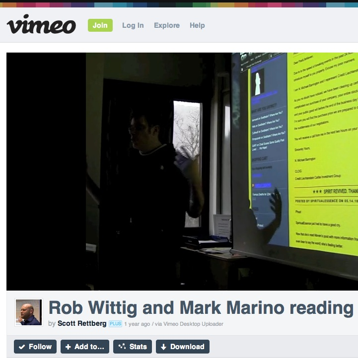 Rob and Mark Marino Reading at UiB