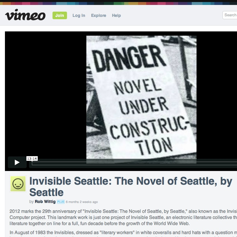 Invisible Seattle: The Novel of Seattle, by Seattle